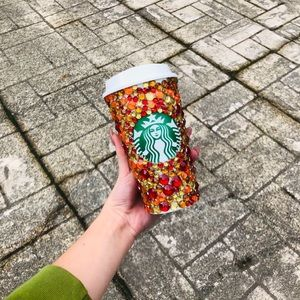 Fall colored themed bling Starbucks hot cup